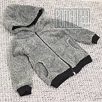 Детская махровая кофта для мальчика р. 80-86 8-12 месяцев на молнии ткань ВЕЛСОФТ 100% хлопок 3952 Серый 80, фото 1