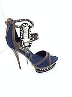 Босоножки джинсовые на платформе с каблуком  Denim, фото 1