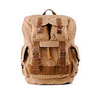 Рюкзак винтажный брезентовый S.c.cotton бежевый, фото 1