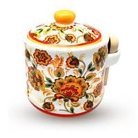Банка для меда с деревянными ложкой 420 мл Цветочная роспись Snt 2370-16