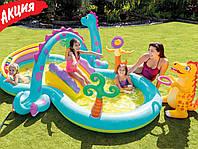"""Детский водный игровой центр бассейн с горкой Intex """"Планета динозавров"""" Надувной игровой центр детский"""