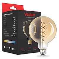 LED лампа филамент  Vestum  / G-125  / 6 w / 2500k /  Vintage  ( SPIRAL TWIST )  Amber