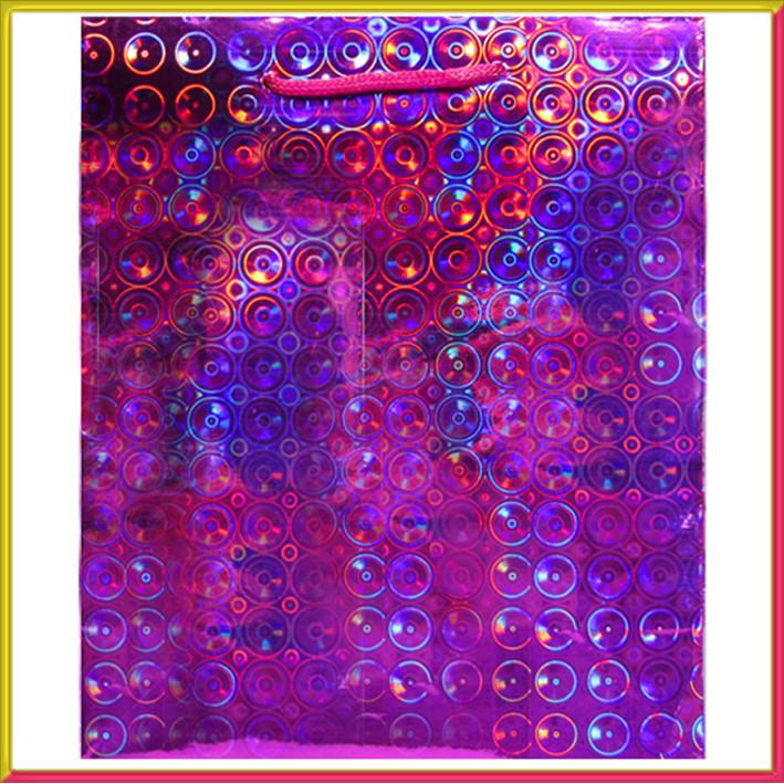 Пакет Подарочный Голографический Малиновый 21 см * 18 см * 7,5 см, Упаковка для Подарков