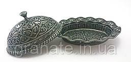 Лукумница овальная Турция, цвет: состаренное серебро  11*8.5*7 см
