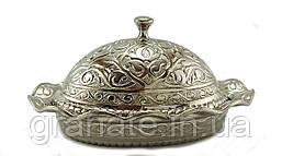Лукумница овальная Турция, цвет: серебро  11*8.5*7 см