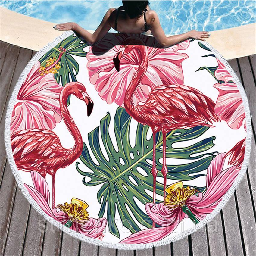 Круглое пляжное полотенце Фламинго розовый 150 см