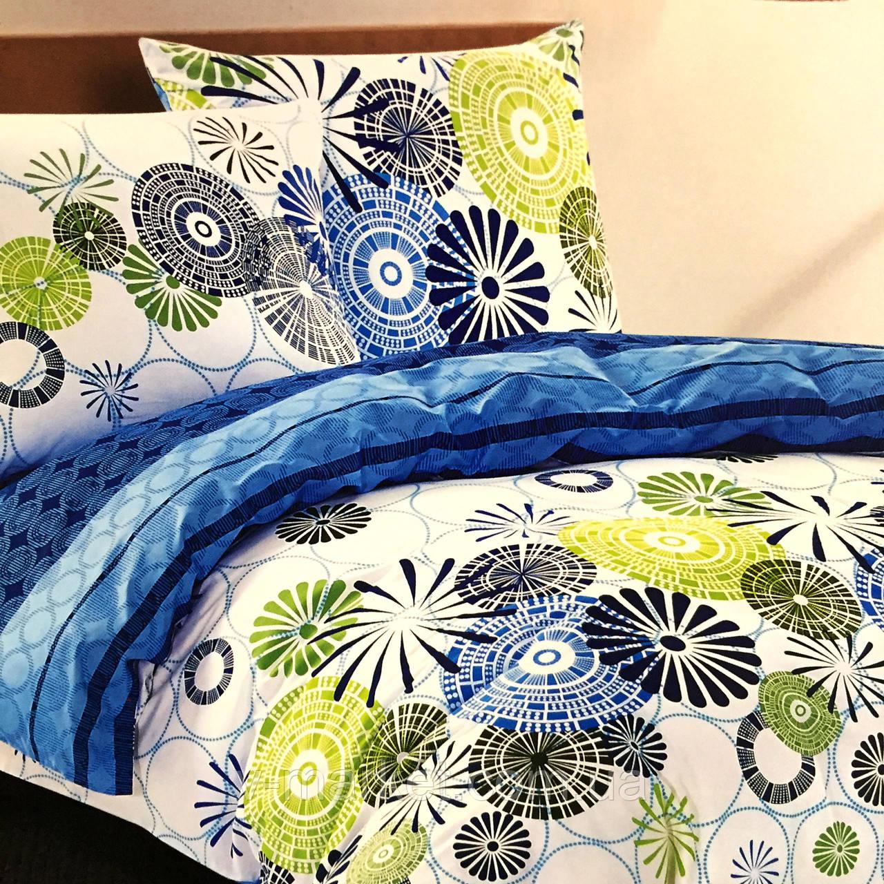 """""""Круги"""" Евро размер постельное белье ELWAY (Польша), 200/220 см, ткань сатин (100% хлопок)."""