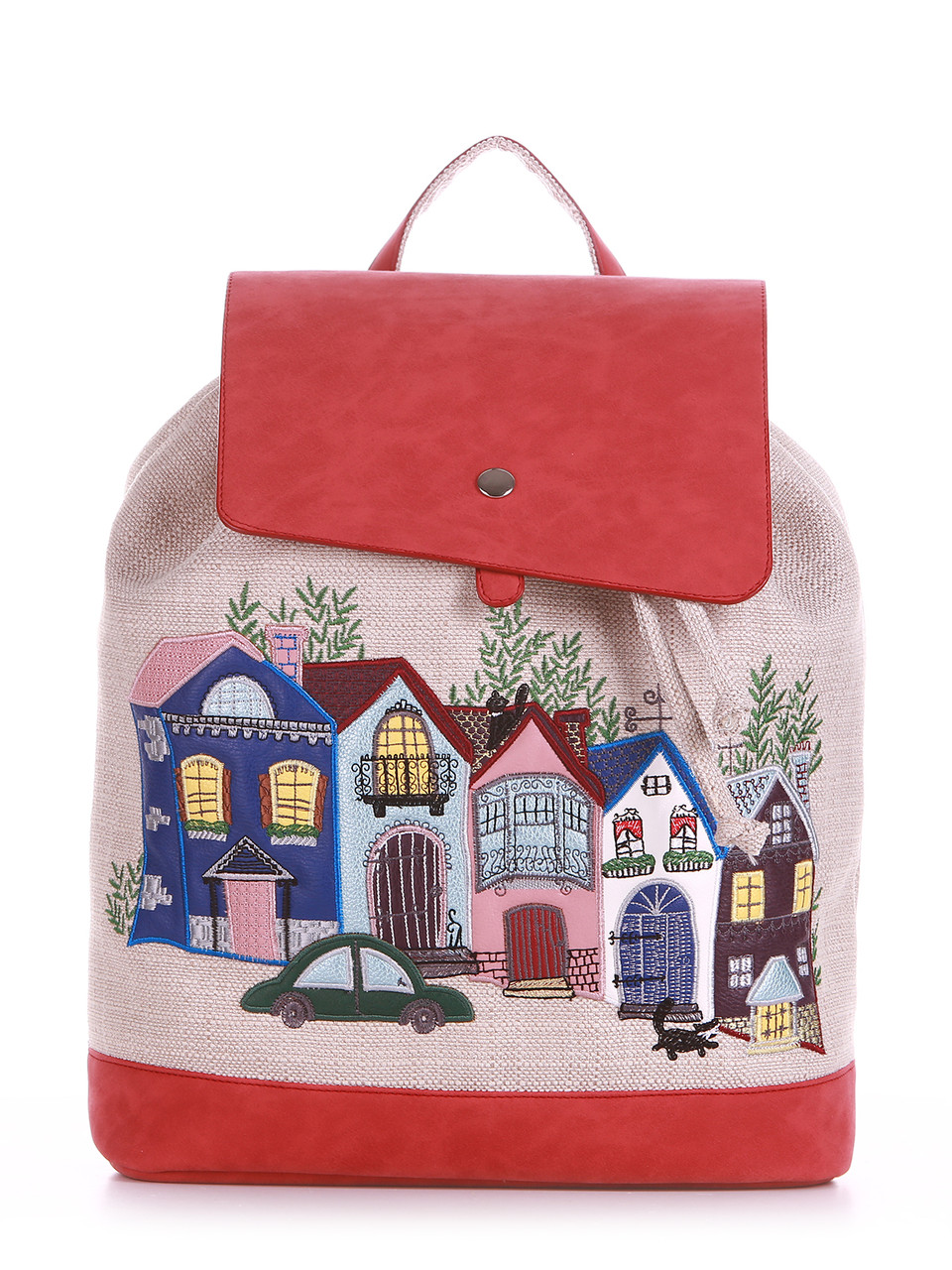 Стильный летний женский льняной рюкзак Alba Soboni / альба собони с аппликацией Город, домики