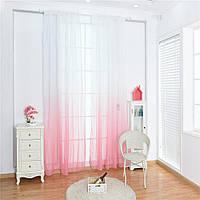 Тюль лен растяжка розовый с белым