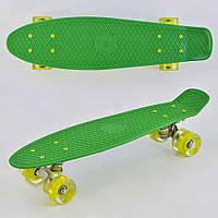 Пенниборд ( скейтборд ) маленький лонгборд Penny board светящиеся колеса зеленый