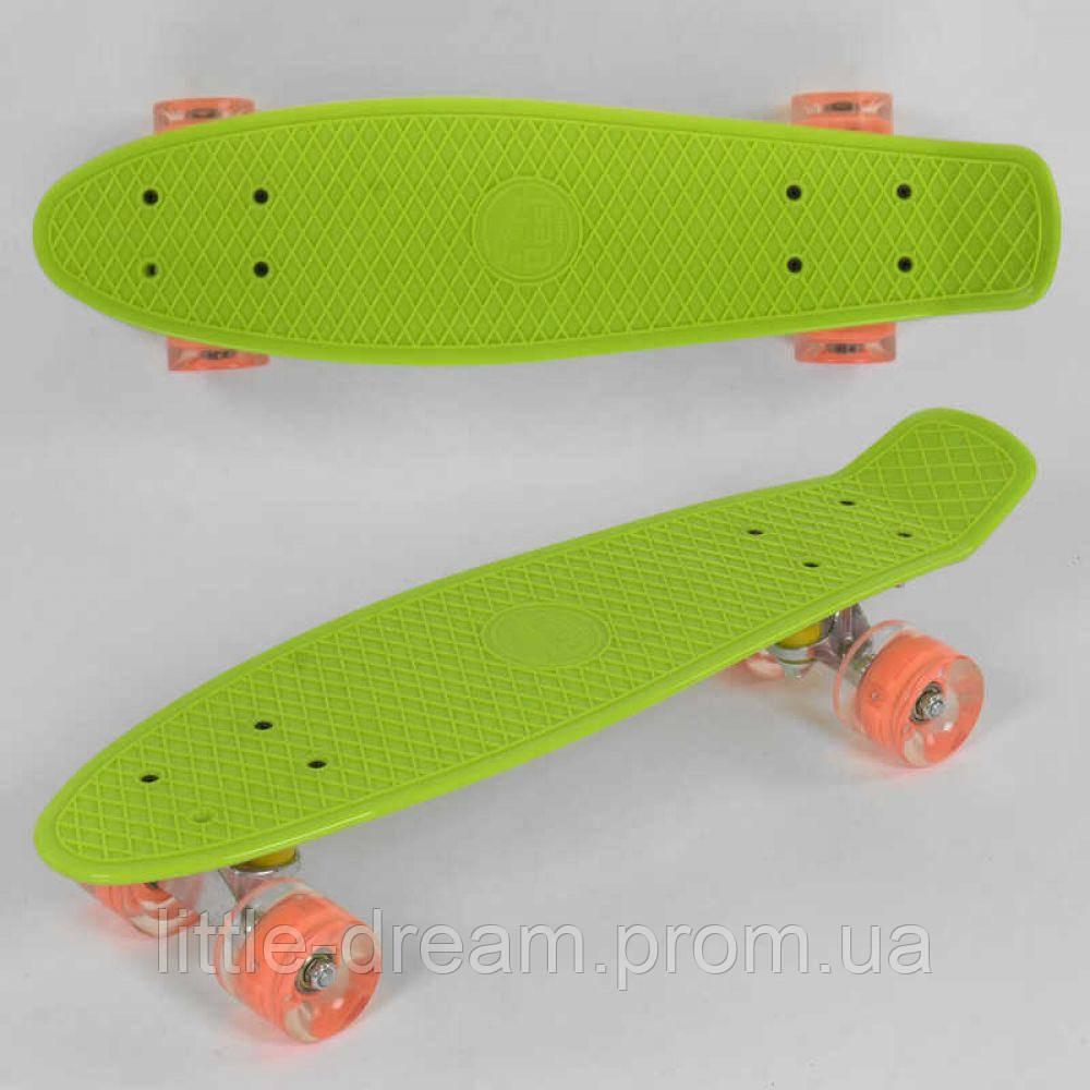 Пенниборд ( скейтборд ) лонгборд Best Board доска 55 см, колёса PU, светятся, салатовый