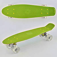 Пенниборд ( скейтборд ) лонгборд Best Board Салатовый светящиеся колёса PU