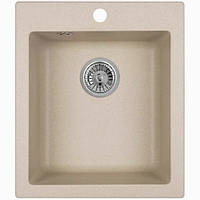 Кухонная прямоугольная гранитная мойка Aqua + сифон ( бежевая ) 500/420/200