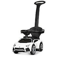 Машинка 2 в 1 с аккумулятором и мотором электромобиль толокар  с родительской ручкой LAMBORGHINI