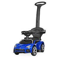 Машинка 2 в 1 с аккумулятором и мотором электромобиль толокар  с родительской ручкой LAMBORGHINI синий