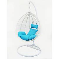 Підвісне крісло-качалка кокон B-183A (біло-блакитний)