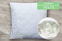 Подушка стеганая белая, размер 70х70 см, ткань микрофибра, холлофайбер