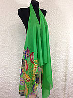 Шифоновая зеленая накидка для пляжа с морской тематикой (цв.9)
