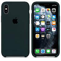 Чехол накладка xCase для iPhone X/XS Silicone Case Forest green