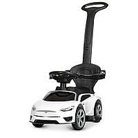 Машинка 2 в 1 с аккумулятором и мотором электромобиль толокар с родительской ручкой Tesla M4318L-1 белый ТЕСЛА