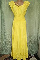 Платье  летнее, женское макси. Хлопок прошва. Индия. Желтый (48-52) XL р, фото 1