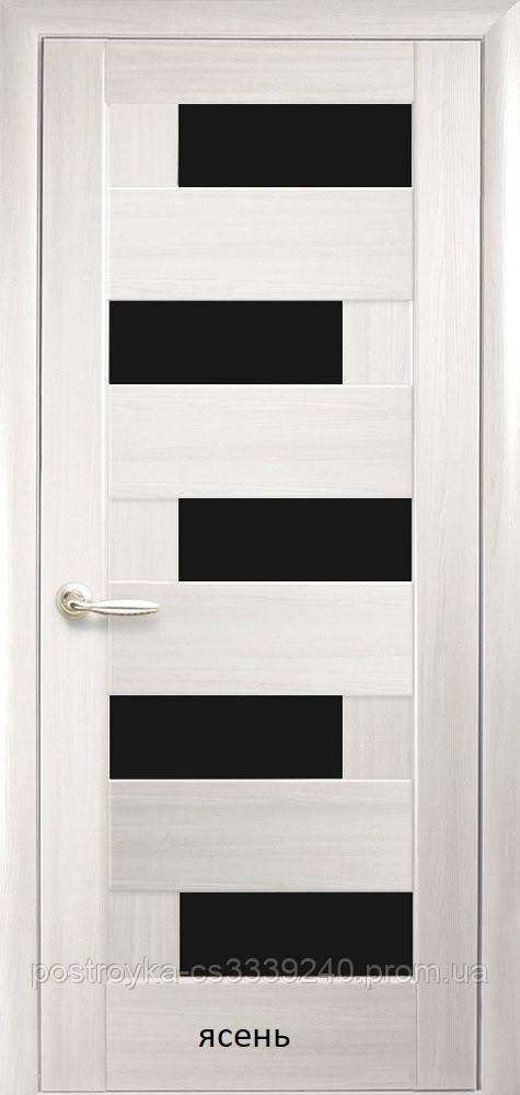 Двери межкомнатные Ностра Пиана Новый Стиль ПВХ с черным стеклом  60, 70, 80, 90