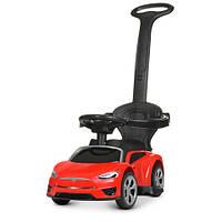 Машинка 2 в 1 с аккумулятором и мотором электромобиль толокар с родительской ручкой Tesla M43183 красный ТЕСЛА