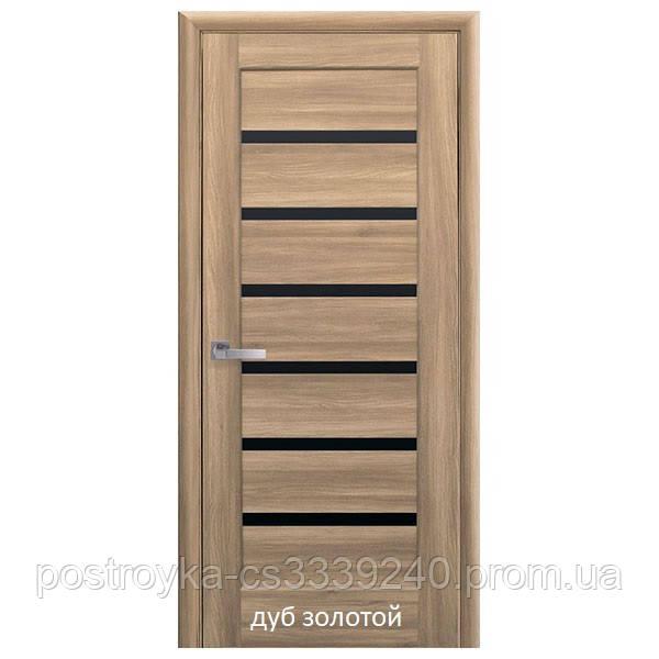 Двери межкомнатные Ностра Линнея Новый Стиль ПВХ с черным стеклом 60, 70, 80, 90