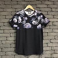 Мужская летняя футболка черная с розами