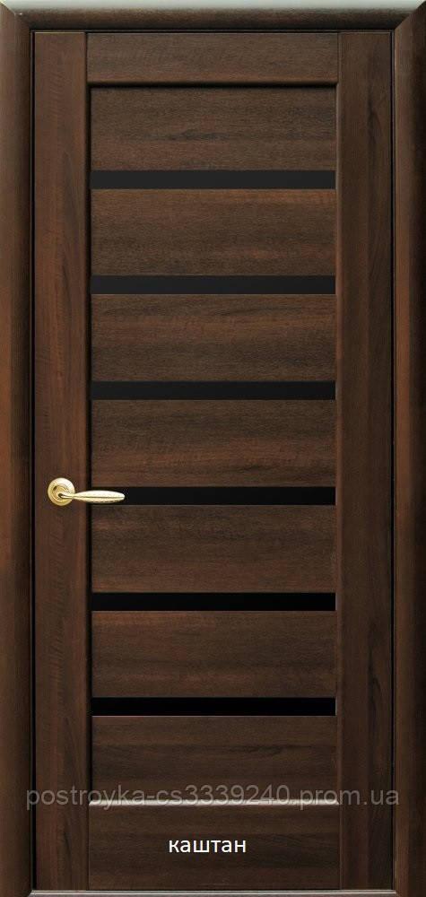 Двері міжкімнатні Ностра Ліннея Новий Стиль ПВХ з чорним склом 60, 70, 80, 90