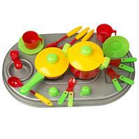 Кухня детская плита с мойкой и посудой, Kinderway