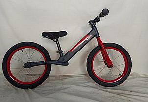 Детский беговел-велобег 14 дюймов Crosser Balance bike Air  JK-07 серый