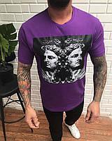 Мужская длинная футболка фиолетовая