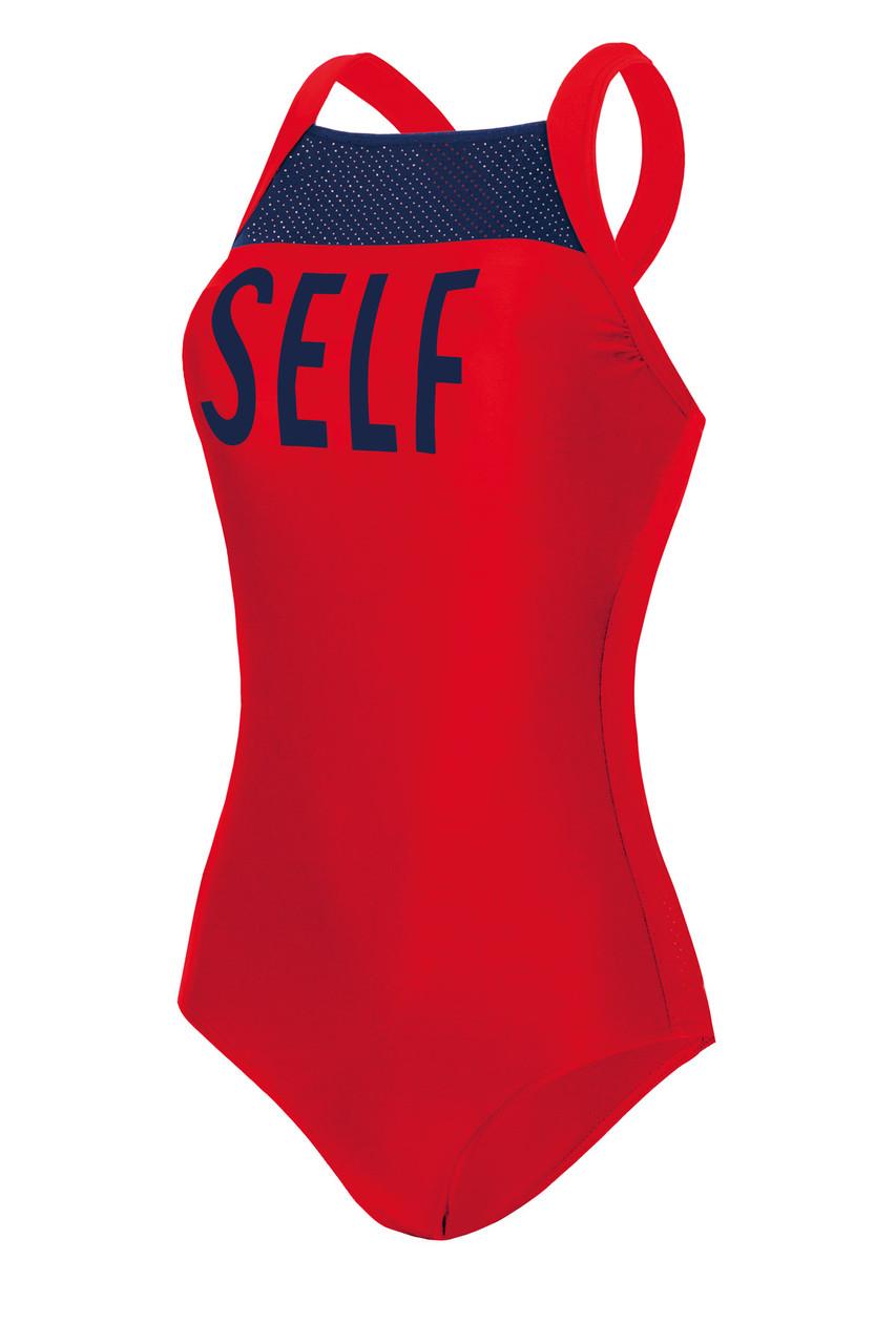 Спортивный купальник цельного типа Self Collection красного цвета. Размер: L, XL, 2XL