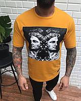 Мужская длинная футболка оранжевая