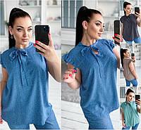Р 42-56 Натуральная летняя блузка  Батал 21858-1