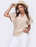 Свободная блузка из хлопка с V-образным вырезом ЛЕТО, фото 3