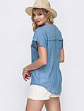 Свободная блузка из хлопка с V-образным вырезом ЛЕТО, фото 2