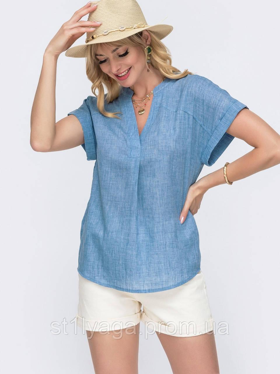 Свободная блузка из хлопка с V-образным вырезом ЛЕТО
