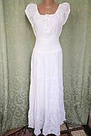Платье  летнее, женское макси. Хлопок прошва. Индия. Белый (44-48) М р., фото 1