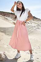 Летняя юбка трапеция миди длины на пуговицах 42-48 размеры розовая в полоску