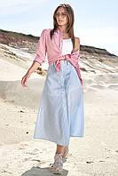 Летняя юбка трапеция миди длины на пуговицах 42-48 размеры голубая в полоску