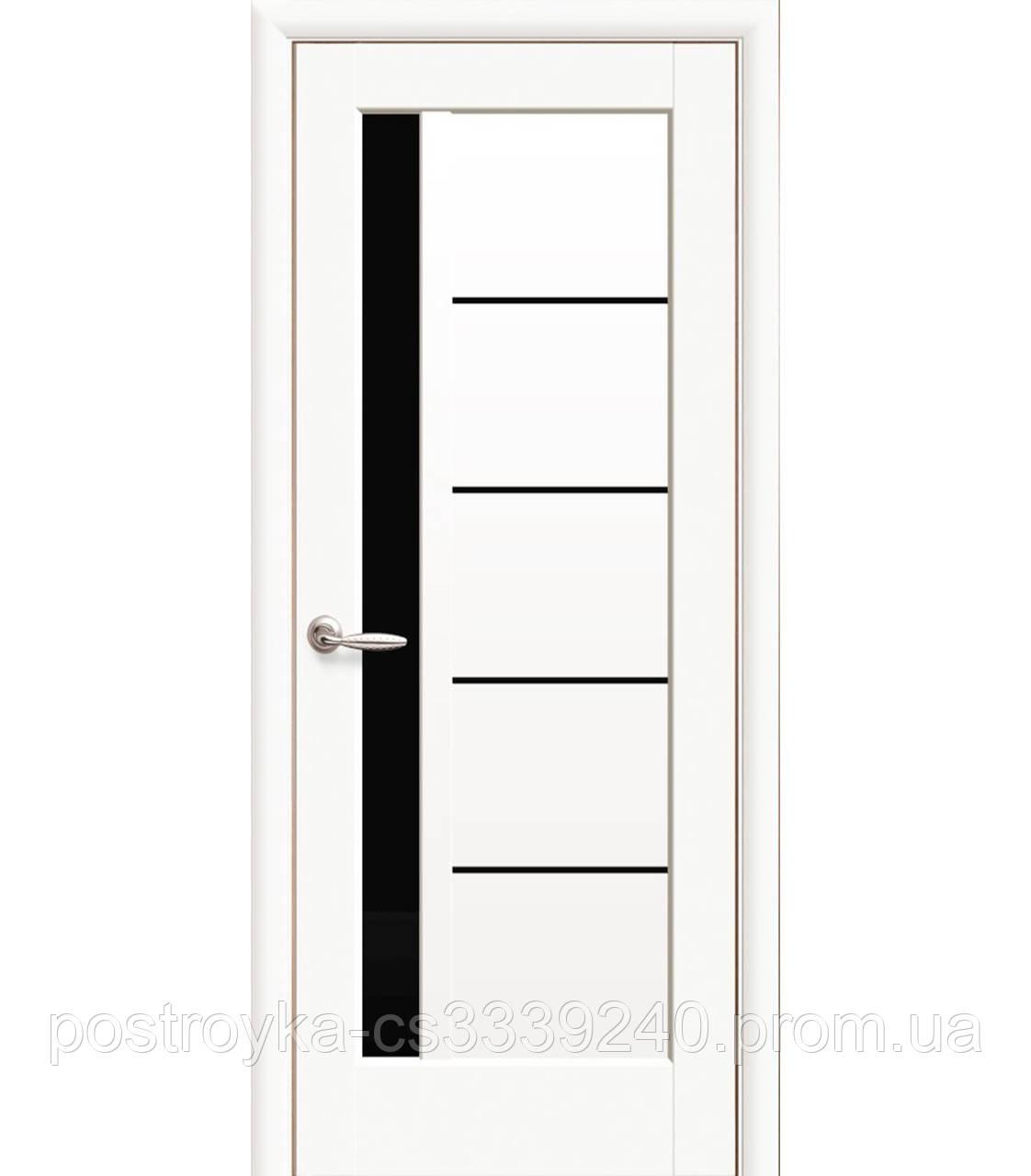 Двери межкомнатные Ностра Грета Новый Стиль ПВХ с черным стеклом 60, 70, 80, 90