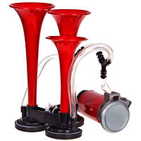 Сигнал повітряний CA-10730/Еlephant/3-дудки пластик,червоний 12V/165mm,200mm,215mm
