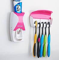 Диспенсер для зубной пасты и щеток автоматический W-506 Белый/Розовый