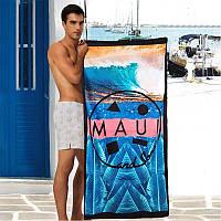 Стильное махровое полотенце для пляжа с ярким принтом