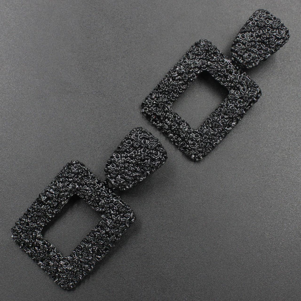 Женские серьги  65х33 мм в стиле Zara черные