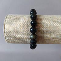 Браслет из натурального камня Обсидиан на резинке гладкий шарик d-10мм обхват 18см