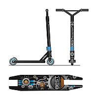 Двухколесный трюковый самокат Best Scooter 80686 с алюминиевыми дисками и декой, колеса 10 см, синий