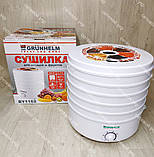 Сушка для овощей, фруктов и грибов Grunhelm 520 Вт на 5 лотков, сушилка, фото 3